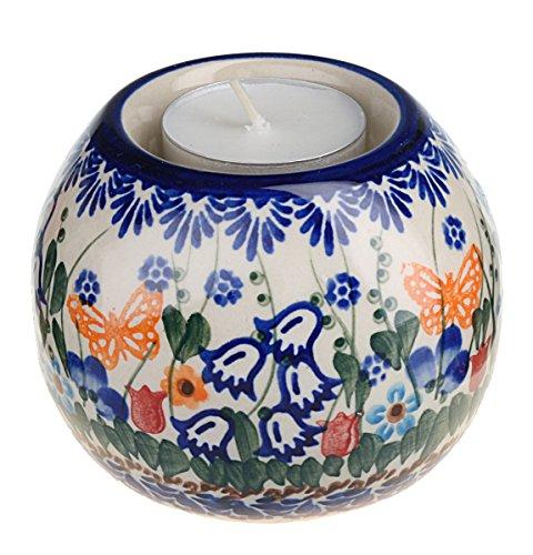 Classic Boleslawiec, Polish Pottery, Hand Painted Ceramic Ball, Tea Lite Candle Holder 502-u-099