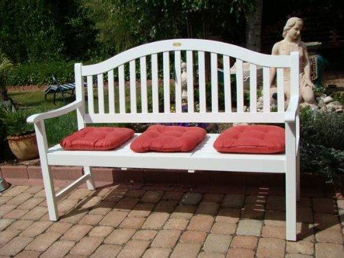 """VARILANDO Gartenbank """"Primrose"""" aus weiß lackiertem Eukalyptus Holzbank Sitzbank 3-Sitzer Hochzeitsbank - 3"""