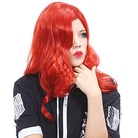 Halloween Jessica Rabbit Cosplay Perruque Costume Wig Joli Dame Filles Cuivre Rouge Long Ondulé Cheveux Accessoires