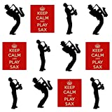 Keep Calm and Play, Saxophone Saxophone Player Silhouette ? comestibles pour cupcakes col montant (Lot de 12)