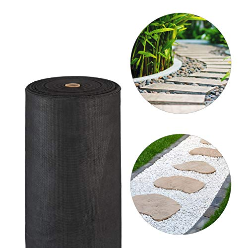 Relaxdays Unkrautvlies, 150 g/m², Pflanzenschutz, wasserdurchlässig, UV-beständig, reißfester Gartenvlies, 50 m, schwarz