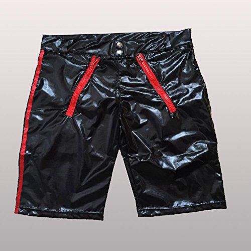 XZDCDJ Herren Unterhosen Slip Verführerische Herren Dessous Kunstleder Open Crotch Bodysuit Unterhose(XL,Schwarz) -