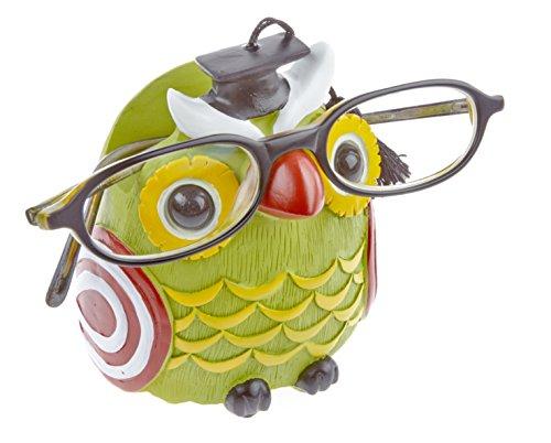 Preisvergleich Produktbild Kinderbrillenhalter, Brillenhalter Eule Uhu, Grün, handbemalt, für jung und alt, für Kinder und Junggebliebene, lustig und frech