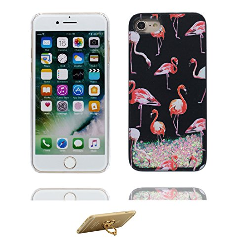 Hülle iPhone 7, [ Liquid Fließendes Glitzer Bling Bling ] iPhone 7 Handyhülle Cover (4.7 zoll), Floating sparkles, iPhone 7 Case Shell Anti-Beulen und Ring Ständer blau # 2