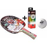 GKI Kung Fu DX Table Tennis Combo Set (GKI Kung Fu DX Table Tennis Racquet + GKI Premium 3 Star 40 Table Tennis Ball, Box of 3 - White)