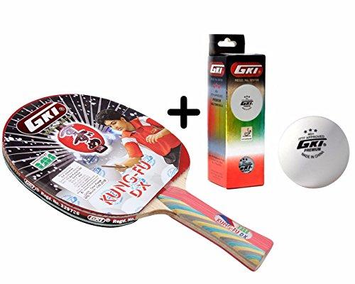 GKI Kung Fu DX Table Tennis Combo Set (GKI Kung Fu DX Table Tennis Racquet + GKI Premium 3 Star 40 Table Tennis Ball, Box of 3 - White)  available at amazon for Rs.1329