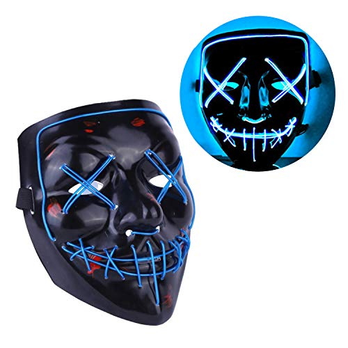 (LAEMILIA Maske LED Light EL Wire Erwachsenen Cosplay Purge Mask Festival Fashing Karneval Party Haslloween Kostüm Verkleiden Zubehör)