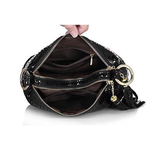 Realer Borse delle donne della borsa del modello del coccodrillo pelle Hobos del messaggero con le nappe Nero