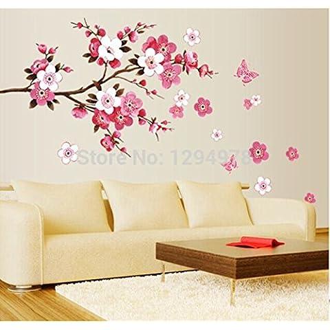Rosba (TM), rosa farfalla decorazione Bagno grande muro Adesivi principessa decorazione della stanza amore smontabili della parete d'arte poster Specchio