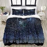 ALLMILL Bedding Bettwäsche-Set,Tiefer gespenstischer Wald verzweigt Sich Kosmos-Galaxie-Sternhaufen-Astronomie View,Mikrofaser Bettbezug und Kissenbezug - (200 x 200 cm)