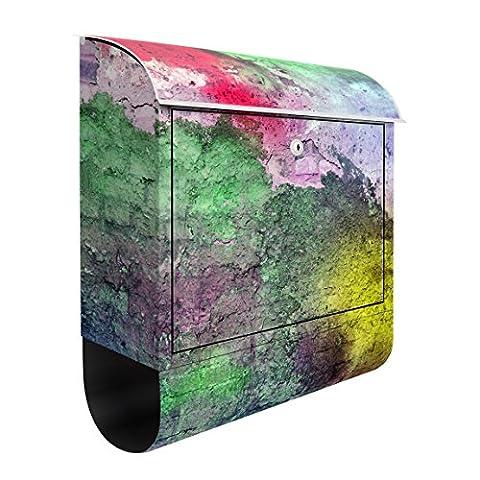 Design Briefkasten Bunte besprühte alte Wand aus Backstein 39x46x13cm, Postkasten mit Zeitungsrolle, Wandbriefkasten, Mailbox, Letterbox, Briefkastenanlage, Dekorfolie, Größe: 46cm x 39cm