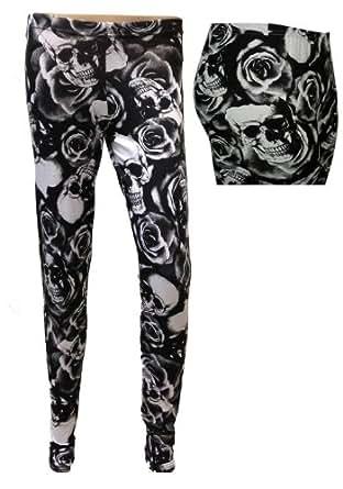 Ladies Printed Stretch Leggings, Rose and Skull, S/M