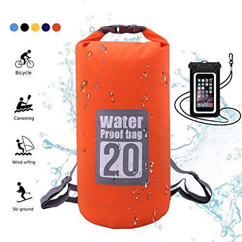 WIN.MAX Wasserdichte Wasserdichter Packsack mit Handybeutel, Orange, 20L