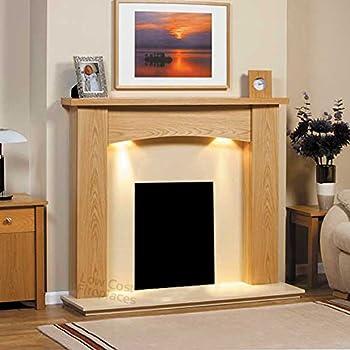 Oak Wood Fireplace Surround Cream Ivory Hearth Lights Suite Curve