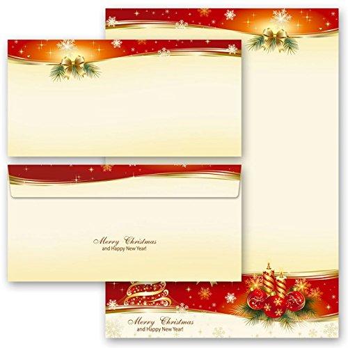 Briefpapier Weihnachten 20-tlg. Set BESINNLICHE WEIHNACHT (10 Blatt Motivpapier+ 10 passende Briefumschläge DIN LANG ohne Fenster)