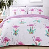 Rapport Housse de Couette Motifs Flamants Roses, en Coton Polyester, Multicolore, pour Lits Doubles