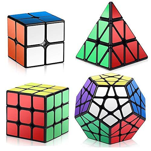 Maomaoyu Speed Cube Set 2x2+3x3x3+Pyraminx+Megaminx+Skewb 5 Pack Puzzle Twist Magic Cube sans Autocollant Cube de Vitesse Magique Cadeau de Vacances pour Enfants Adultes