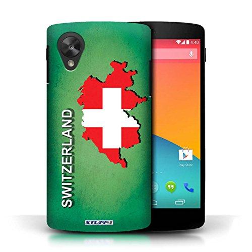 Coque en plastique pour LG Google Nexus 5/D821 Collection Drapeau Pays - Grèce/Grecque Suisse/Swiss