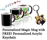 Personalized Color Changing Magic Photo Mug with Free! Acrylic Keychain - Customize Both with Your Own Photos & Texts