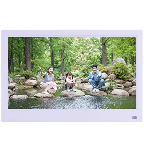 Digitaler Bilderrahmen,Sixcup®12,5 Zoll 1920x1080 Hohe Auflösung Full IPS LCD Panel Ultra Breitbild mit Fernbedienung Unterstützt 32G SD USB Multi-Format für Video Musik FotoBilder und Videos (White)