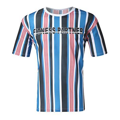 KUKICAT Kurzarm T-Shirt Streifen,Classic Herren Sommer Button Shirt, Vintage Leinen Volltonfarbe Kurzarm T-Shirt Top, Casual Leinen Baumwolle Ärmel Top gestreiftes Hemd
