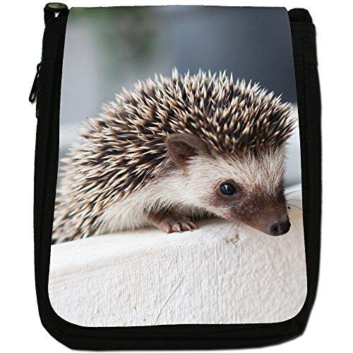 Prickly Hedgehog-Borsa a tracolla in tela, colore: nero, taglia: M Nero (Hedgehog In Pot)
