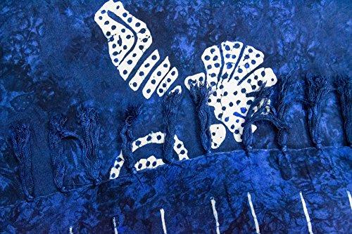 ManuMar Damen Sarong | Pareo Strandtuch | Leichtes Wickeltuch mit Fransen-Quasten Mini-Rock 55x155 cm Dunkel-Blau Muschel