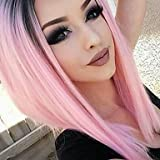 mingcong T1B Kunsthaar-Perücke, Kurzhaarfrisur, glattes Haar, hitzebeständig, Rosa