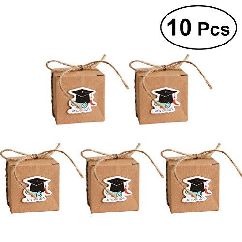 luoem Graduation Cap Candy behandeln Kästchen Geschenk-Boxen Papier Kraft für die Graduierung Partyzubehör 100(blau Diplom) (Papier Cap Graduation)