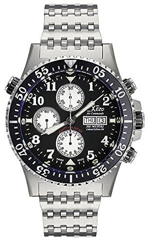 Xezo Montre chronographe, mécanisme automatique Valjoux 7750 suisse, verre saphir