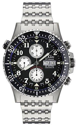 Xezo - Air commando orologio cronografo movimento automatico svizzero Valjoux 7750, con zaffiro anti-riflesso, per sommozzatori, piloti Diametro: 45 mm.