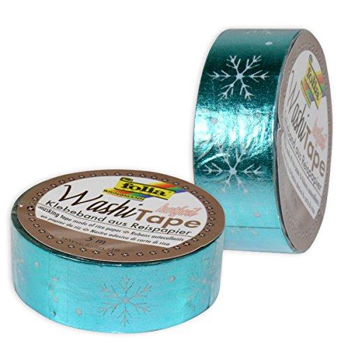 Folia - Washi Tape, 1 Rolle, Eisblau mit Schneeflocken