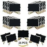 Woohome Mini Tafel Set, 25 Stück Holz Tafel mit Stand-Füße für Message Board Signs, Hochzeiten und Party