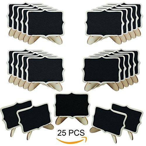 Woohome Mini Tafel Set, 25 Stück Holz Tafel mit Stand-Füße für Message Board Signs, Hochzeiten und Party - Material Dekore Für Partei Die