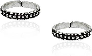 Frabjous Lovely Silver Plain Adjustable German Silver Toe Ring for Women