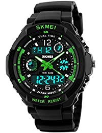 Reloj doble / deportes al aire libre de los hombres / forma electrónica impermeable de la montaña / reloj multi-funcional del salto de la personalidad , large green