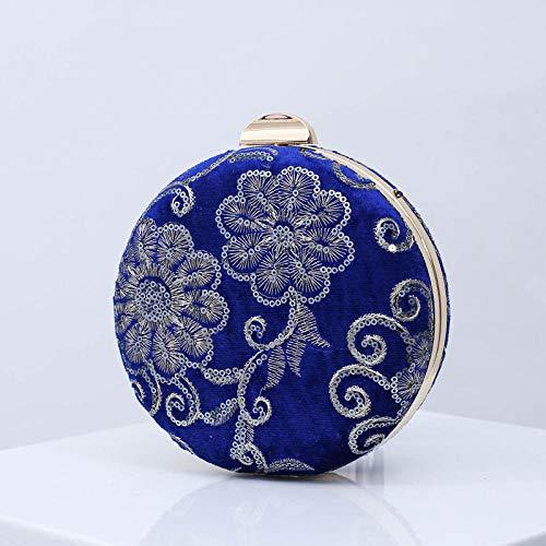 Perlen Satin Kostüm - LT Clutches Damen Clutch Bag_Original handgemachte Tasche Vintage Perlen Bankett Tasche Cheongsam Damen kleine Abend Kostüm - Royal Blue