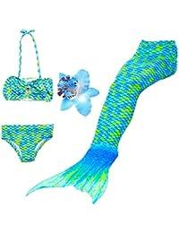 DAXIANG – Traje de baño de 3 Piezas, Bikini con Cola de Sirena (la Cola posee una Hebilla en la Parte Baja Que al abrirla Permite Caminar o Ponerse una Aleta para Nadar)
