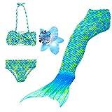3 Pièces Maillot de Bain Princesse Queue de Sirène Mermaid Bikini(Il y a la Boucle au Bas de la Queue,Pouvez Ouvrir pour Marcher ou Fermer pour Ajouter Monopalme) (140(8-9 Ans), Paon)