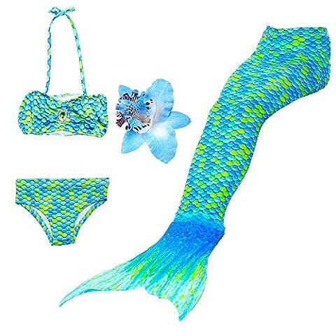 3 Pièces Maillot de Bain Princesse Queue de Sirène Mermaid Bikini(Il y a la boucle au bas de la queue,pouvez ouvrir pour marcher ou fermer pour ajouter monopalme) (120(4-5 Ans), Paon)