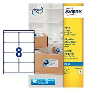 Avery 200 Etiquettes Autocollantes (8 par feuille) - 99,1x67,7mm - Impression Jet d'encre - Blanc - J8165