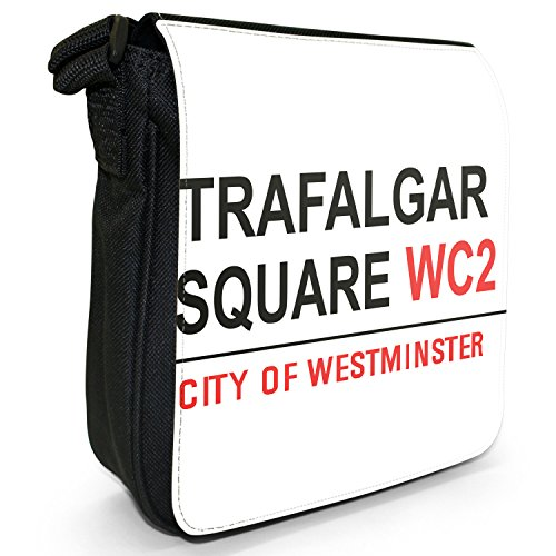 Attrazioni famose di Londra Street, borsa a spalla in tela, piccola, colore: nero, taglia: S Nero (Trafalgar Square Lions Square)