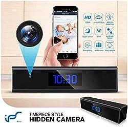 Caméra Espion,1080P Mini Camera Espion WiFi Réveil Caméra de Surveillance de Vision Nocturne Nanny Caméra Cachée Détection de Mouvement Surveillance en Temps réel à la Maison ou au Bureau