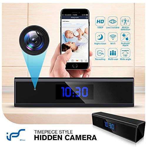 Caméra Espion,1080P Mini Camera Espion WiFi Réveil Caméra de Surveillance de Vision Nocturne Nanny...