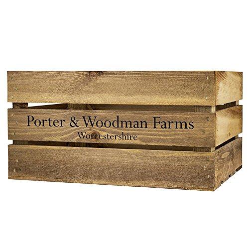 Porter and Woodman - Cassa grande in legno grezzo con stampa P&W Farms