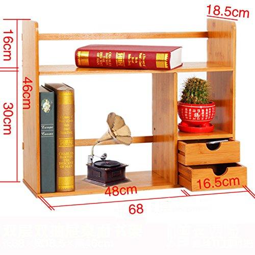 JX&BOOS Bookshelf,Desktop bookcase storage rack bamboo simple children students telescopic desk storage shelf-K 68x19x46cm(27x7x18)