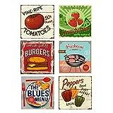 Easy Painter, 6 targhe in Metallo da 30,5 x 30,5 cm, per Cucina, Bar, Stile Vintage, Decorazione per la casa - pomodori, peperoni, Hamburger, Fragole, Barbecue, 6 Pezzi