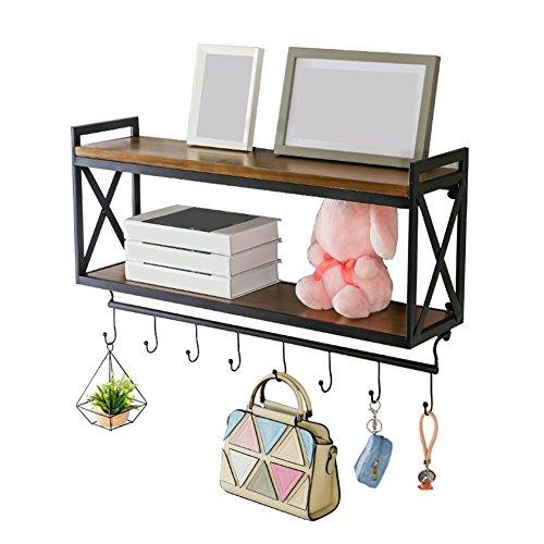 ZTH Multifunktionale Lagerung dekorative Wandrahmen schwimmende Display Regal Bücherregal Massivholz Schmiedeeisen Rack mit Haken Länge 60/80 / 100X20X45cm A+ (größe : 100x20x45cm) (Display Dekorative Regale)