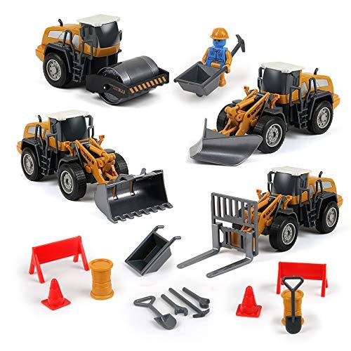 BeebeeRun Auto Spielzeug 3 Jahre 4 Jahre 5 Jahre,Kleinkind Spielzeugautos,4 in 1,Bagger, Straßenwalze, Gabelstapler, Schneeräumer
