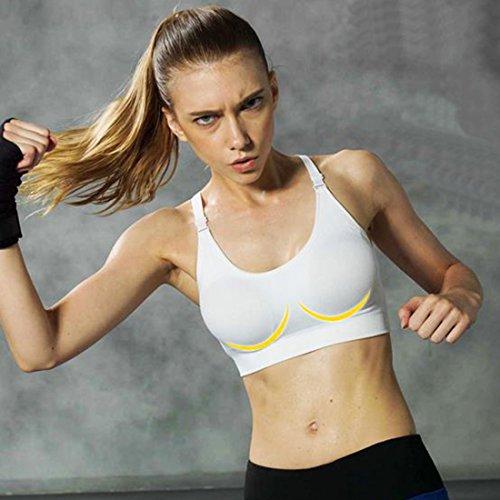 Encounter Femme Soutien-gorge Sport Lingerie Brassière Sans Armature Couture pour Yoga Fitness Blanc